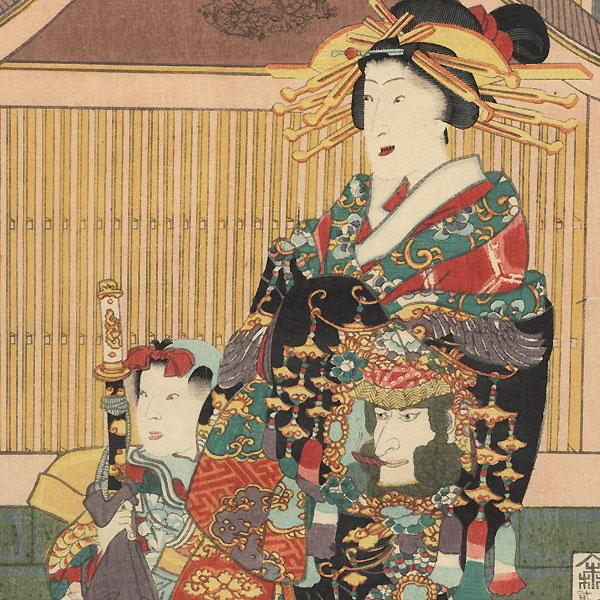 Prince Genji Visits the Gankiro Teahouse, 1860 by Toyokuni III/Kunisada (1786 - 1864)