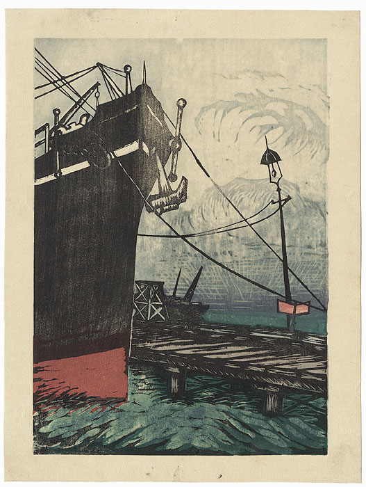 Ship in the Harbor by Shin-hanga & Modern artist (unsigned)