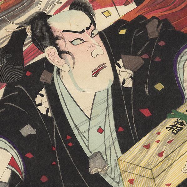 Ichikawa Sadanji I as Okawa Tomoemon, 1889 by Meiji era artist (unsigned)