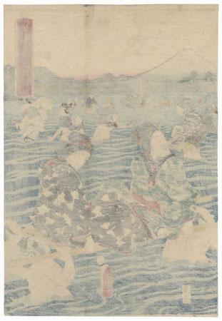 Crossing the Great Oi River, 1853 by Toyokuni III/Kunisada (1786 - 1864)