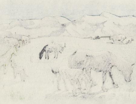 Grazing Horses by Yamaguchi Susumu (1897 - 1983)