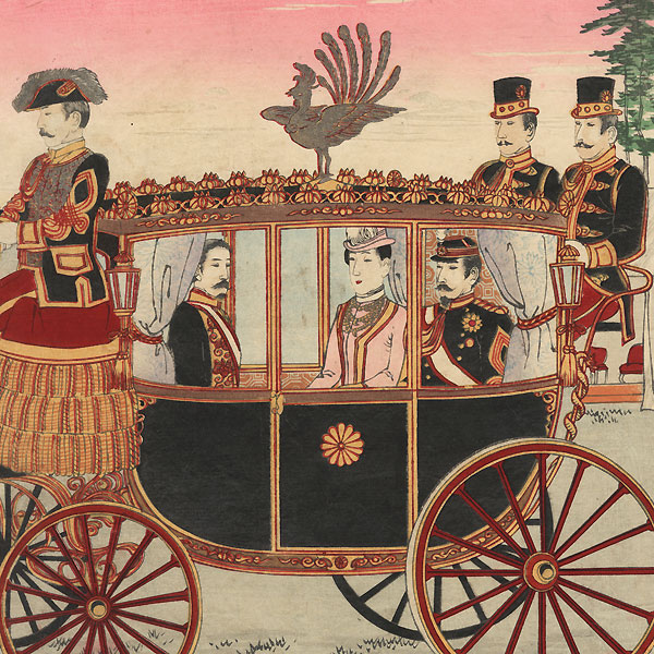 The Emperor Meiji and Empress in a Carriage during their Silver Wedding Anniversary Celebration at Aoyama, 1894 by Yasuji Inoue (1864 - 1889)