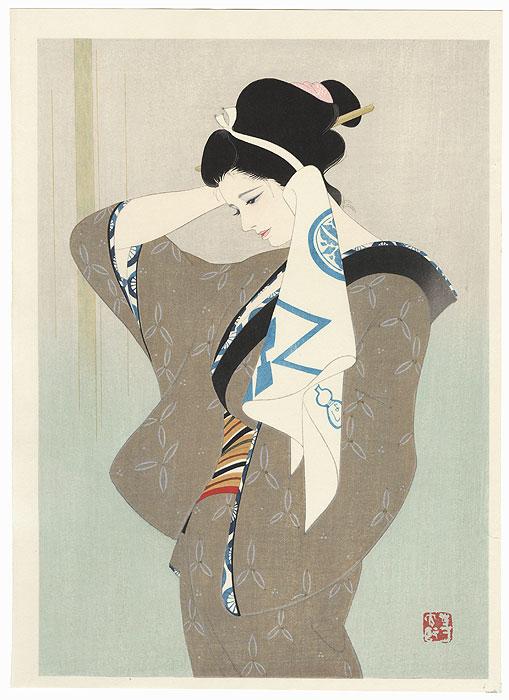 After a Bath by Iwata Sentaro (1901 - 1974)