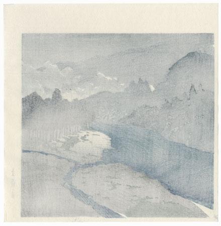 Rain at Okutama by Hasui (1883 - 1957)