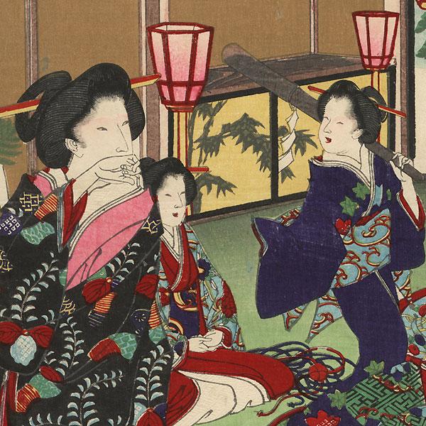 Fukubiki: Lottery by Chikanobu (1838 - 1912)