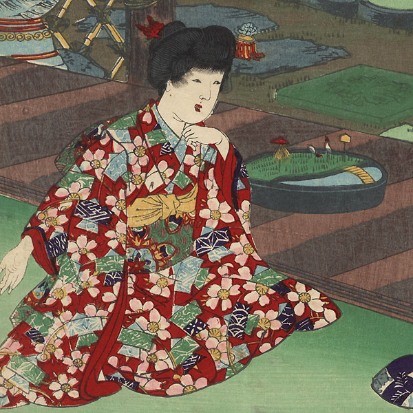 Kami fuku: Blowing Paper by Chikanobu (1838 - 1912)