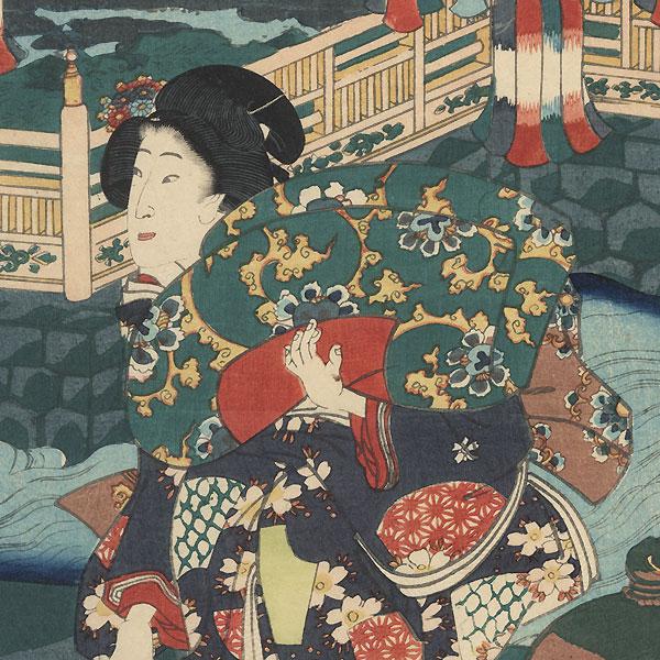 Prince Genji on a Summer Evening, 1862 by Toyokuni III/Kunisada (1786 - 1864)