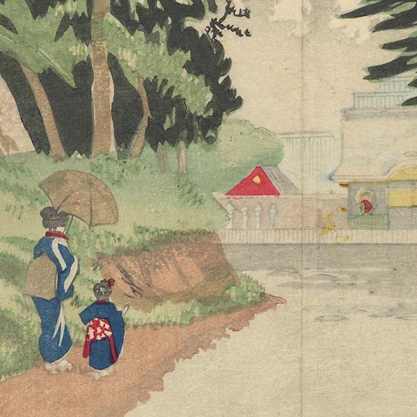 View inside Ueno Park by Kiyochika (1847 - 1915)
