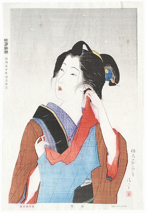 Beauty from Meiji 15 (1882): Light Snowfall, circa 1931 by Kiyokata Kaburagi (1886 - 1972)
