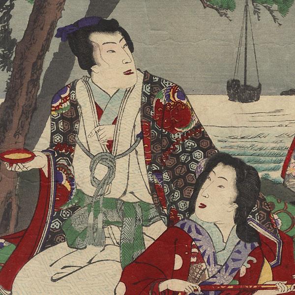 Settsu, Moon over Suma, Murasame, Yukihira and Matsukaze, No. 5 by Chikanobu (1838 - 1912)