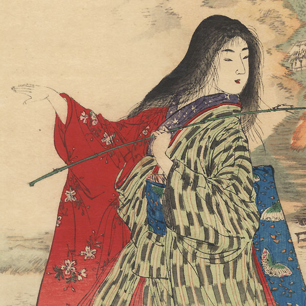 Beauty on a Autumn Stroll Kuchi-e Print by Meiji era artist (not read)