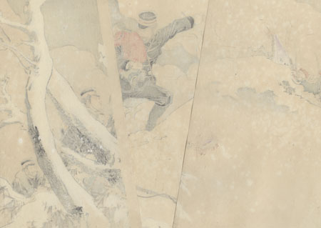 Captain Higuchi Saves a Chinese Child at the Battle of the 100 Foot Cliff Near Weihaiwei, 1895 by Toshikata (1866 - 1908)