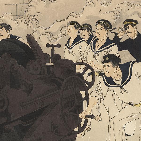 Japanese Warships Fire on the Enemy near Haiyang Island, 1894 by Toshikata (1866 - 1908)