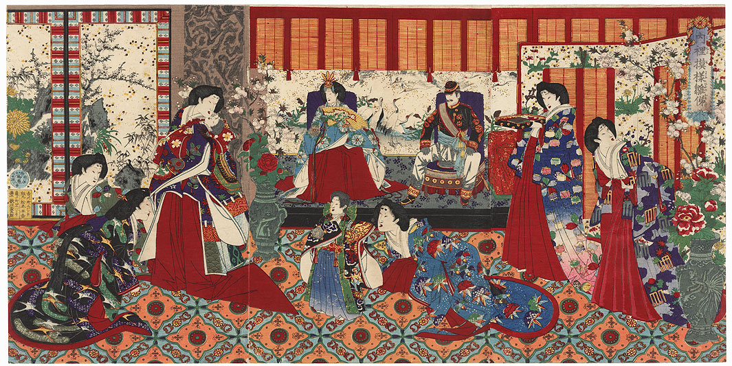 Meiji Emperor and Empress at the Imperial Palace, 1877 by Chikanobu (1838 - 1912)