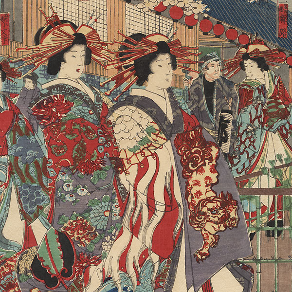 The Pleasure District by Chikanobu (1838 - 1912)