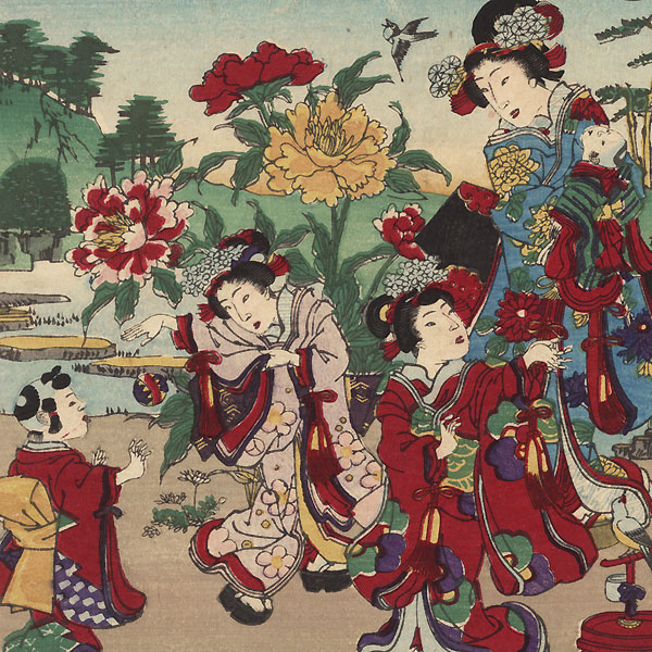 Setting Birds Free; Visiting an Iris Garden by Meiji era artist (unsigned)