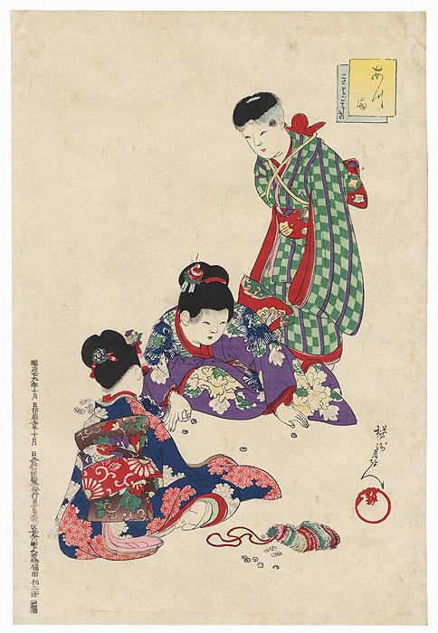 Playing Ohajiki, 1896 by Chikanobu (1838 - 1912)