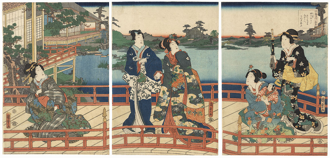 Mitsuuji and Beauty Crossing a Bridge, 1860 by Kunisada II (1823 - 1880)