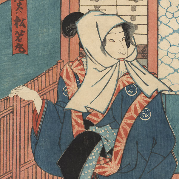 Beauty in a Doorway, 1854 by Toyokuni III/Kunisada (1786 - 1864)