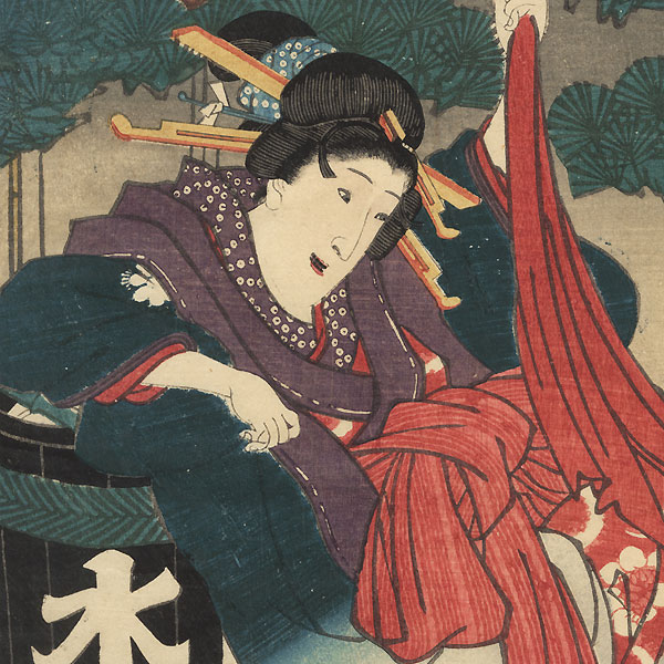 Beauty Making an Escape, 1856 by Toyokuni III/Kunisada (1786 - 1864)