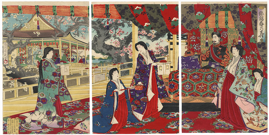 Spring Felicitations in Japanese Brocade, 1885 by Chikanobu (1838 - 1912)