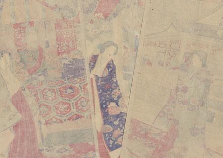 Spring Felicitations in Japanese Brocade, 1885 by Chikanobu (1838 - 1912)
