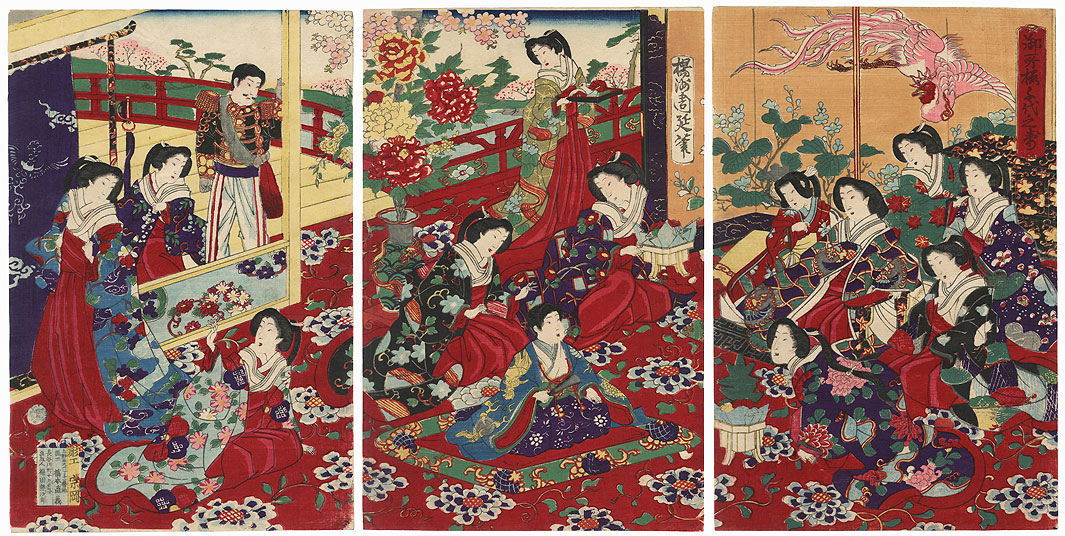 Cherry Blossoms at the Palace: Felicitations for a Thousand Ages, 1880 by Chikanobu (1838 - 1912)