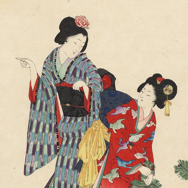 Pulling Pine Shoots by Meiji era artist (not read)