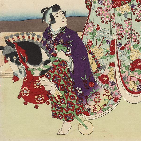 Spring Horse Play by Chikanobu (1838 - 1912)