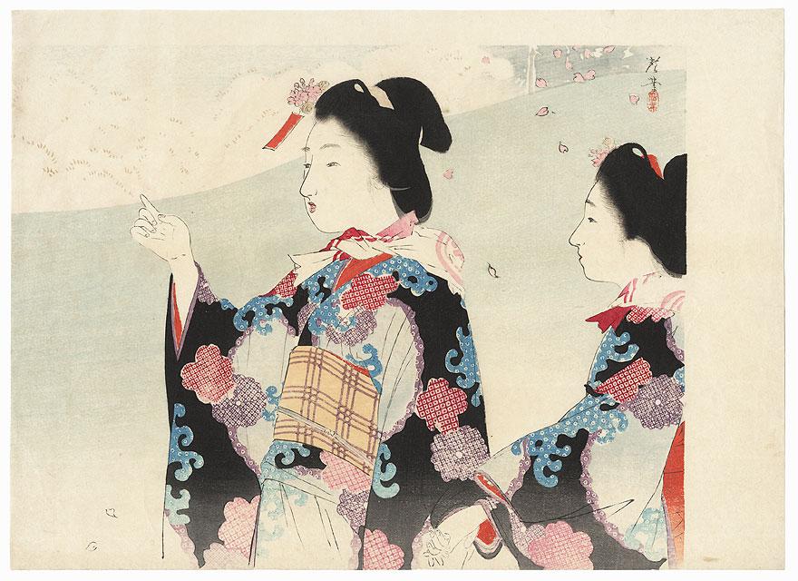 Cherry Blossom Viewing Kuchi-e Print, 1902 by Terazaki Kogyo (1866 - 1919)