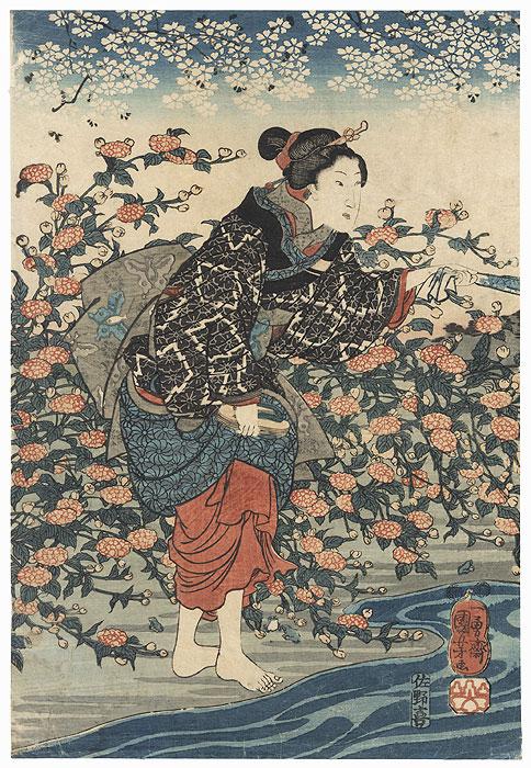The Ide Jewel River in Yamashiro Province, circa 1847 - 1848 by Kuniyoshi (1797 - 1861)