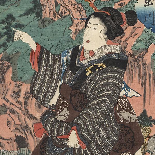 The Koya Jewel River in Kii Province, circa 1847 - 1848 by Kuniyoshi (1797 - 1861)