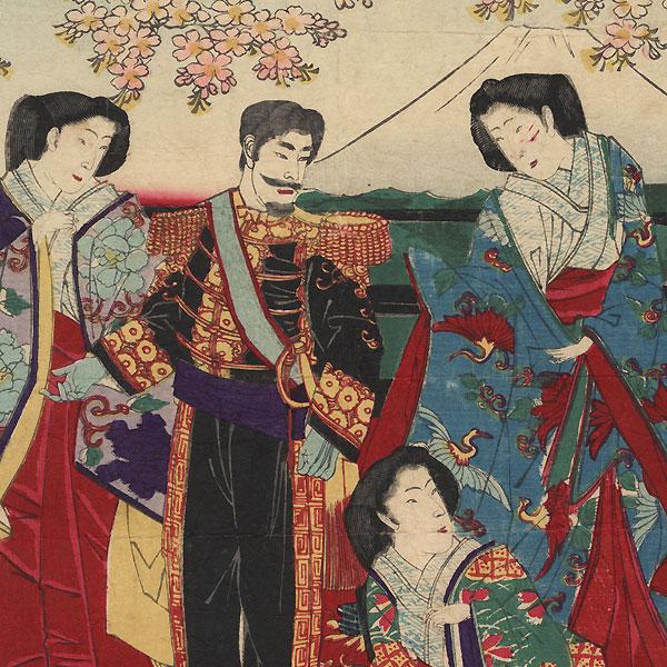 Meiji Emperor and Empress Viewing Mt. Fuji  by Chikanobu (1838 - 1912)