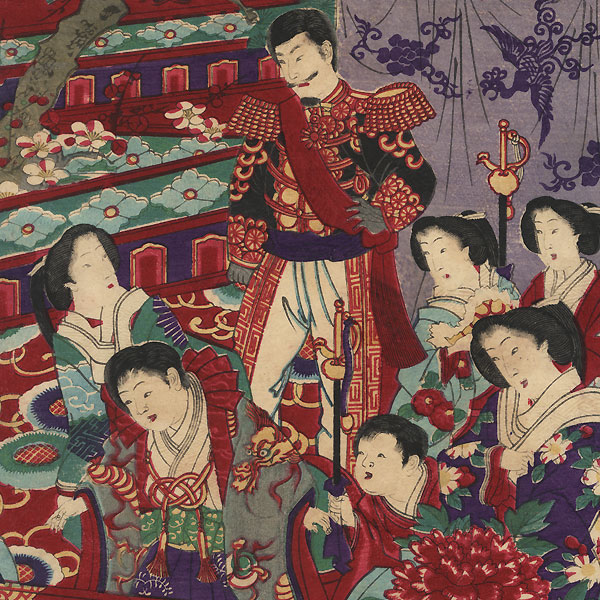 Meiji Emperor and Empress and Prince Watching Turtles by Chikanobu (1838 - 1912)