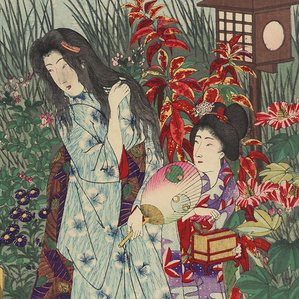 Manners and Customs of Ancient Japan: View of a Garden at Night, 1892 by Chikanobu (1838 - 1912)