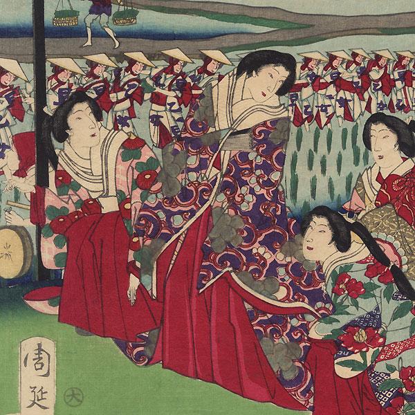 Rice Planting Festival, 1877 by Chikanobu (1838 - 1912)