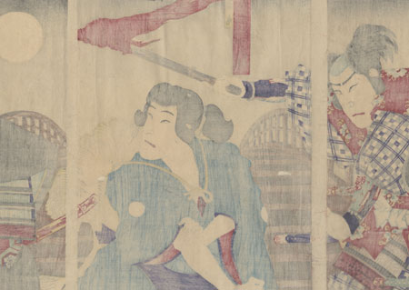 Young Hideyoshi Demands an Apology from Hachisuka Koroku on Yahagi Bridge, 1888 by Chikanobu (1838 - 1912)