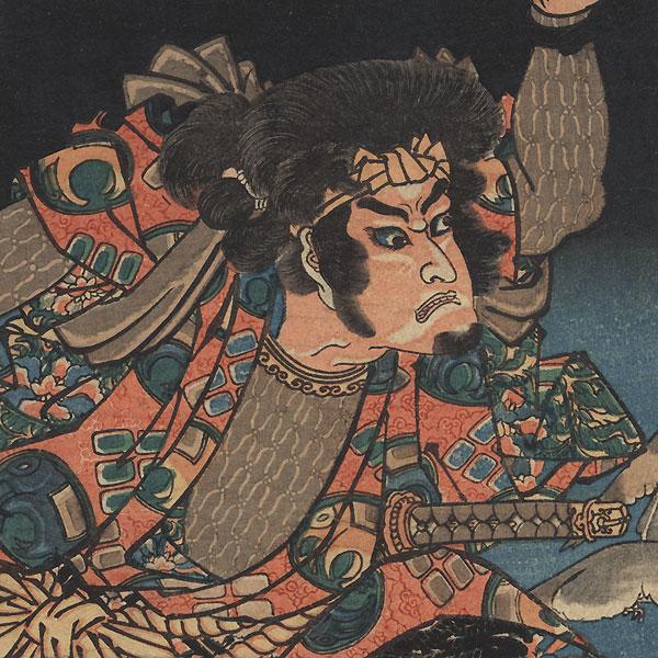 Kenpachi Nobumichi on the Horyukaku Roof by Kuniyoshi (1797 - 1861)