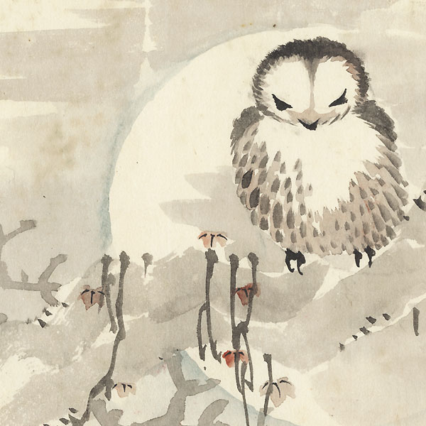 Owl and Full Moon Painting by Meiji era artist (unsigned)