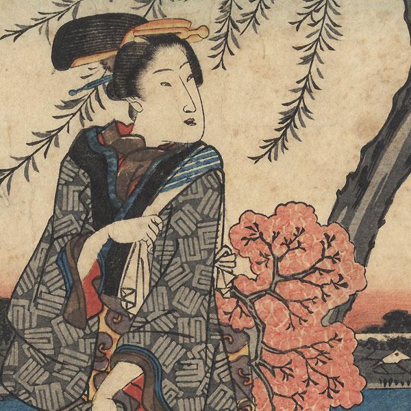 Beauty Strolling, 1843 - 1846 by Hiroshige (1797 - 1858)