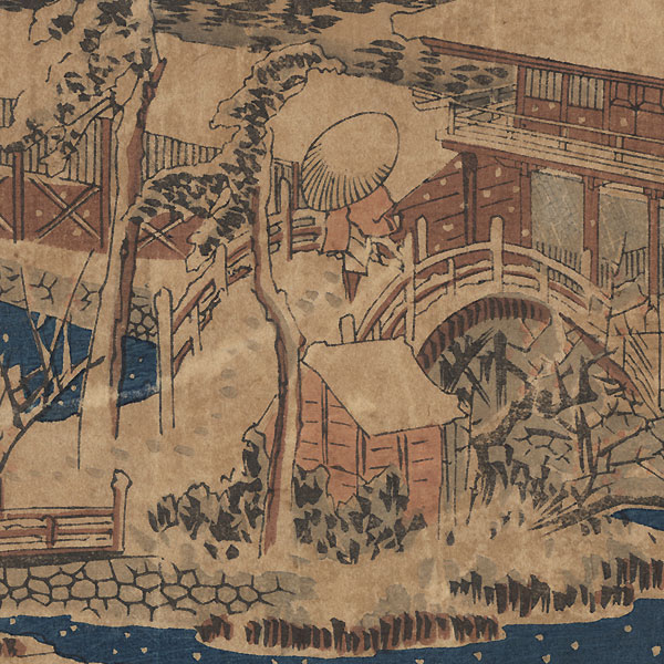 Snow in the Precincts of the Tenman Shrine at Kameido, circa 1832 - 1838 by Hiroshige (1797 - 1858)