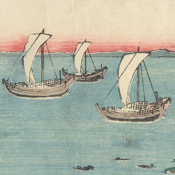 On the Sea at Shinagawa Station, 1853 by Hiroshige (1797 - 1858)