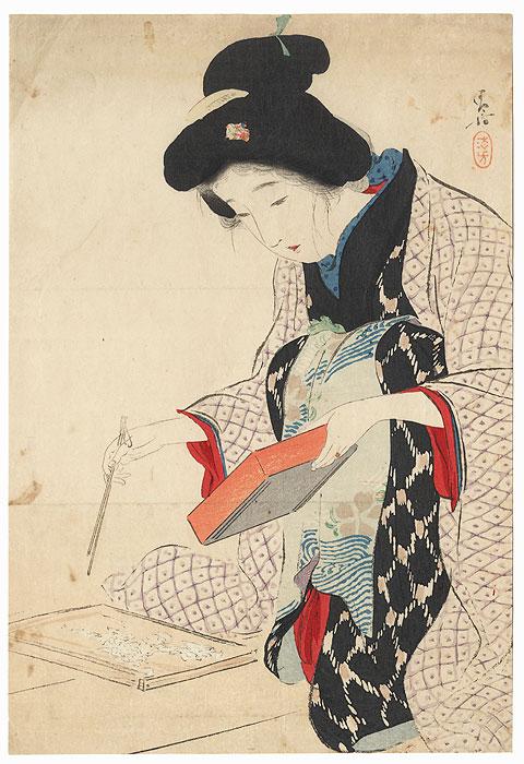 Whitebait Kuchi-e Print, 1911 by Kiyokata Kaburagi (1878 - 1972)