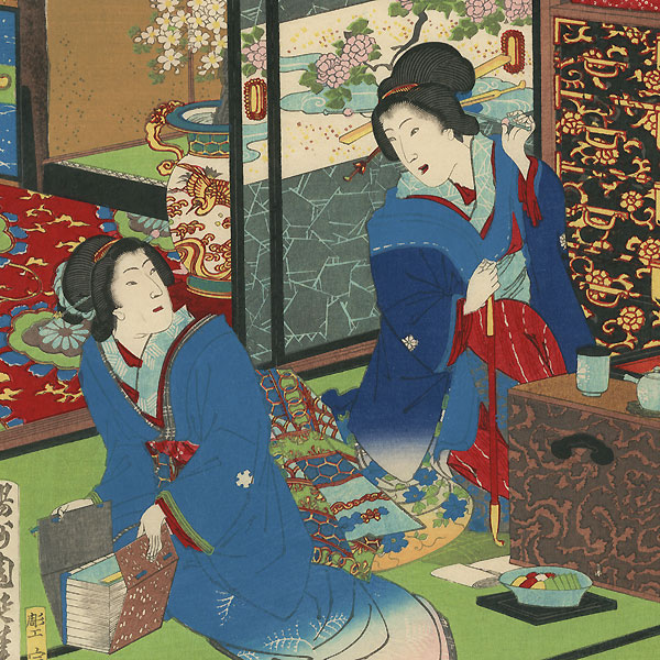 Courtesans of Daimonji-ro, 1884 by Chikanobu (1838 - 1912)