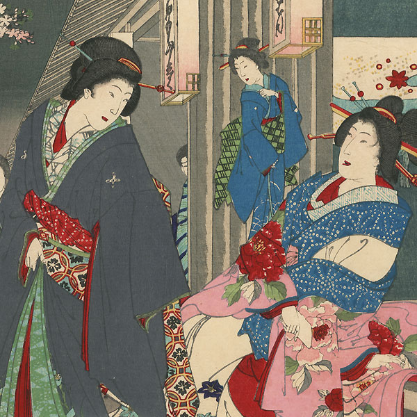 Beauties of Kadoebi-ro, 1884 by Chikanobu (1838 - 1912)