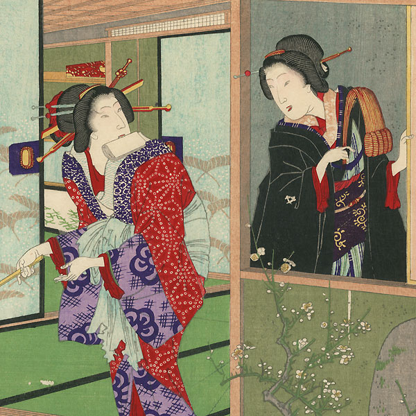 Hagoromo of Kadoebi-ro and Koiku of Nakanacho, 1884 by Chikanobu (1838 - 1912)