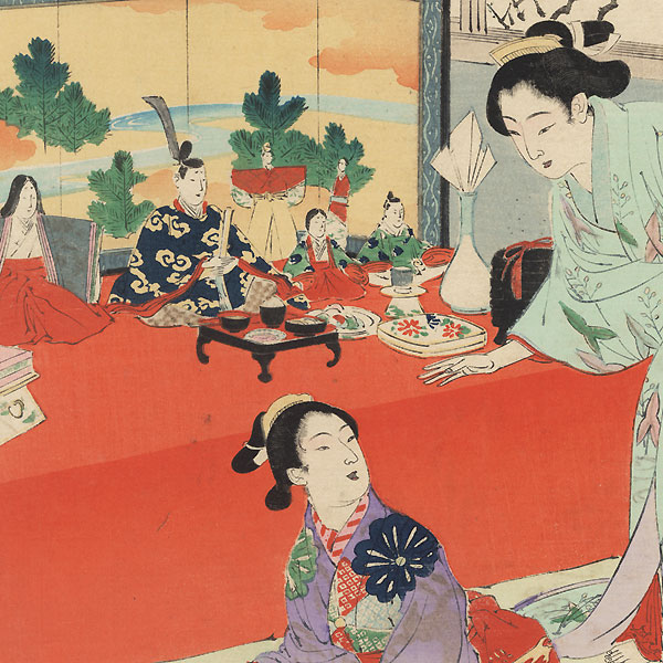 Enjoying the Doll Festival: Women of the Bunkyu Era (1861 - 1864) by Toshikata (1866 - 1908)