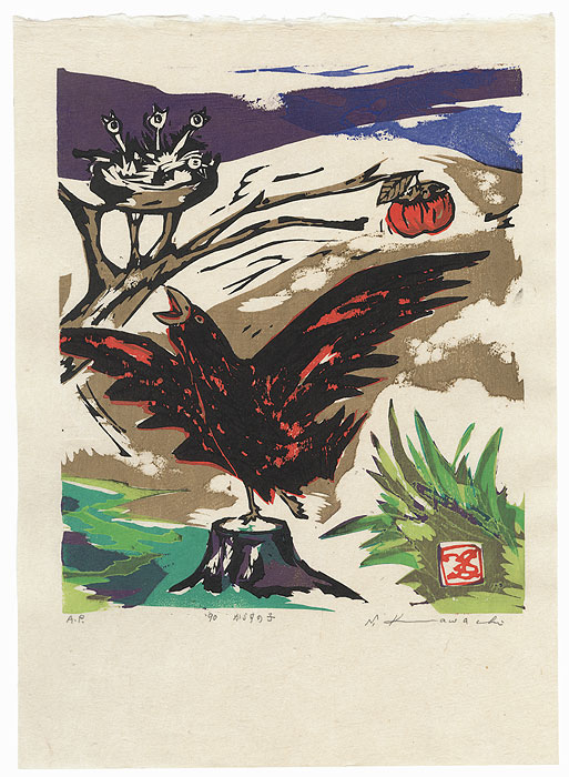 Crow and Persimmon, 1990 by Seiko Kawachi (born 1948)