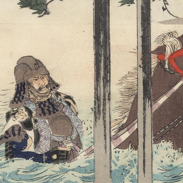 Akechi Mitsuhide Crossing a Lake by Meiji era artist (various)