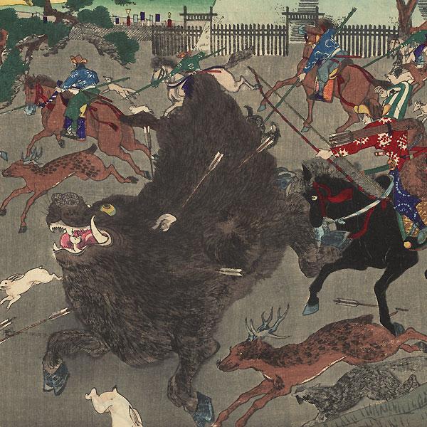 The Shogun Hunting Boar at Koganegahara, 1889 by Chikanobu (1838 - 1912)